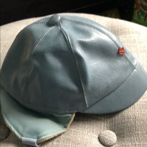 Blue leather baby boy aviator cap hat vintage old 03875a8486b